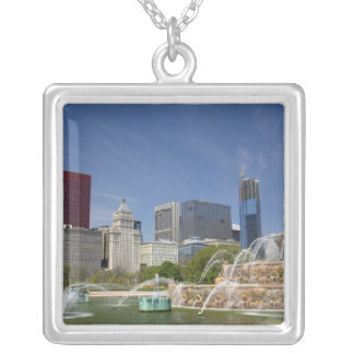 Buckingham Fountain located in Grant Park, 2 Silver Plated Necklace
