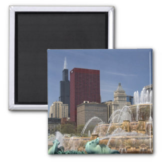 Buckingham Fountain located in Grant Park, 2 Inch Square Magnet