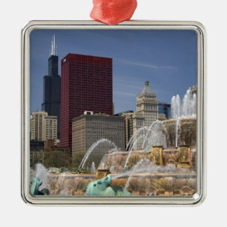 Buckingham Fountain located in Grant Park, Square Metal Christmas Ornament