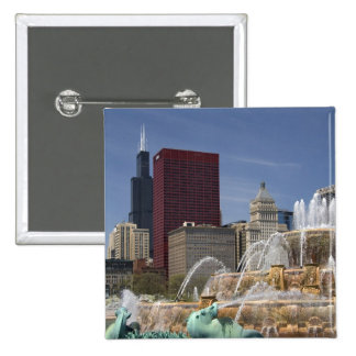 Buckingham Fountain located in Grant Park, Pinback Button