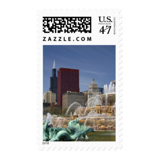 Buckingham Fountain located in Grant Park, Postage