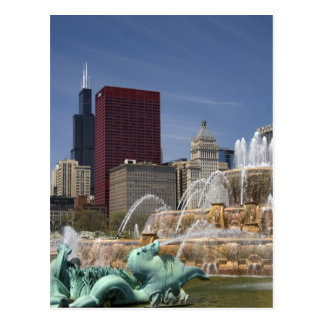 Buckingham Fountain located in Grant Park, Postcard
