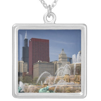 Buckingham Fountain located in Grant Park, Silver Plated Necklace