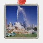 Buckingham Fountain Square Metal Christmas Ornament