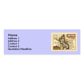 Buckinghamshire County Map, England Double-Sided Mini Business Cards (Pack Of 20)