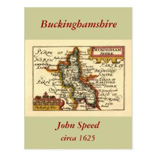 Buckinghamshire County Map England Post Cards