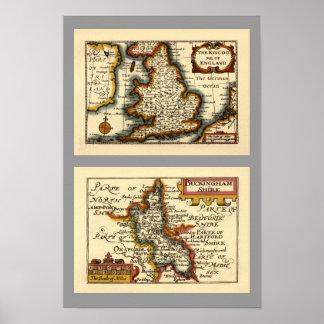 Buckinghamshire County Map, England Poster