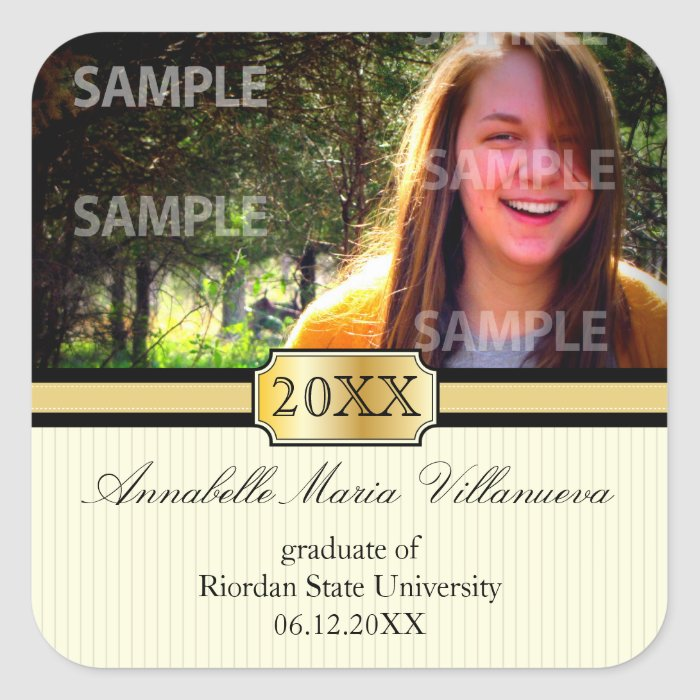 Buckle Band Graduation Announcement Sticker