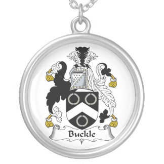 Buckle Family Crest Round Pendant Necklace