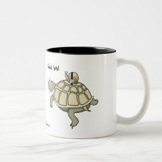 Buckle up! Cartoon turtle and snail. Two-Tone Coffee Mug