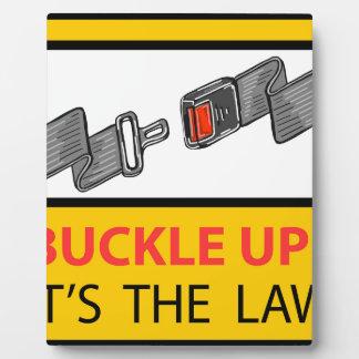 Buckle Up Sign Vector Sketch Plaque