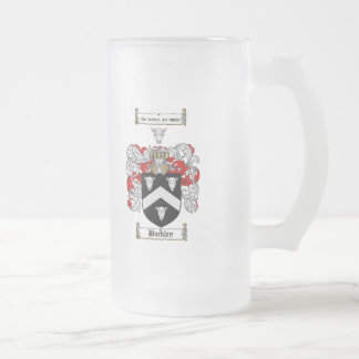 BUCKLEY FAMILY CREST -  BUCKLEY COAT OF ARMS FROSTED GLASS BEER MUG