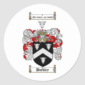 BUCKLEY FAMILY CREST -  BUCKLEY COAT OF ARMS CLASSIC ROUND STICKER