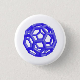 Buckminsterfullerene Molecule (Blue) Button