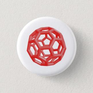 Buckminsterfullerene Molecule (Red) Pinback Button