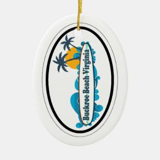 Buckroe Beach. Double-Sided Oval Ceramic Christmas Ornament