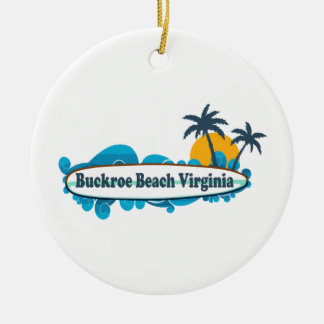 Buckroe Beach. Double-Sided Ceramic Round Christmas Ornament