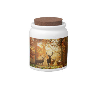 Bucks with Antlers Running Through Autumn Forest Candy Dishes