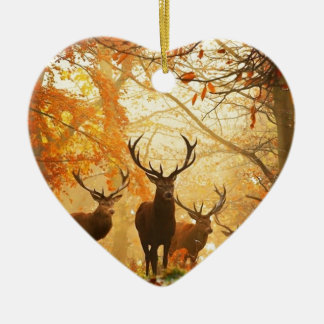 Bucks with Antlers Running Through Autumn Forest Ceramic Ornament
