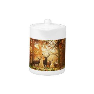 Bucks with Antlers Running Through Autumn Forest Teapot