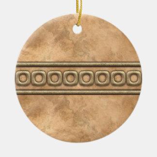 Buckskin and Bridle Leather Ceramic Ornament