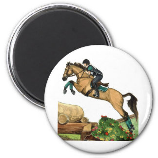 buckskin big leap xc HORSE ART Eventing 2 Inch Round Magnet