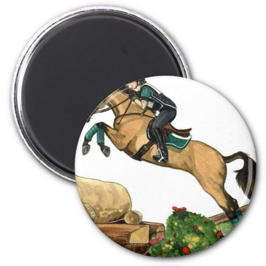 buckskin big leap xc HORSE ART Eventing Magnet