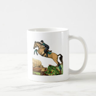 buckskin big leap xc HORSE ART Eventing Mugs