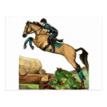 buckskin big leap xc HORSE ART Eventing Postcard