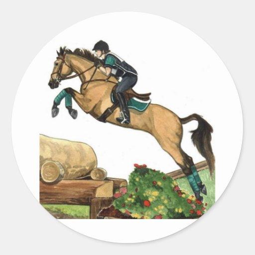 buckskin big leap xc HORSE ART Eventing Round Sticker