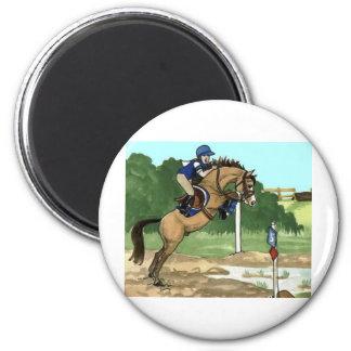 """Buckskin Horse Art """"Don't get toes wet"""" 2 Inch Round Magnet"""