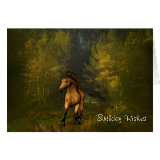 Buckskin Horse in the Forest Birthday Card