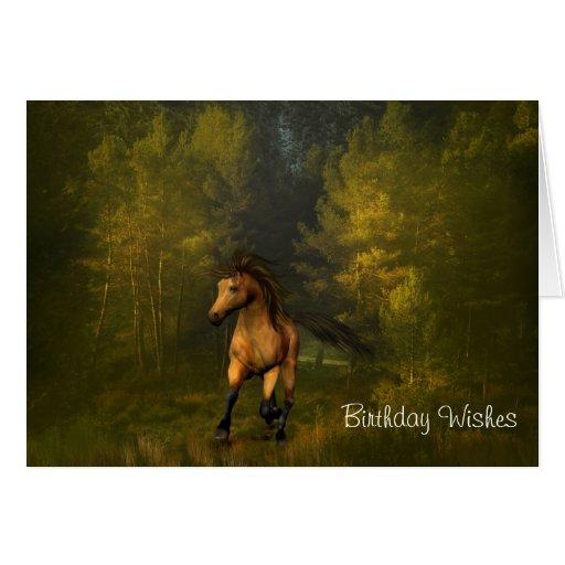 Buckskin Horse in the Forest Birthday Card