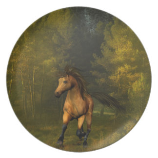 Buckskin Horse in the Forest Plate
