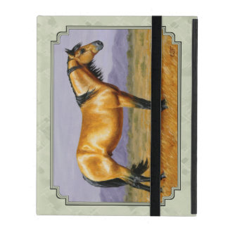 Buckskin Horse Mustang Stallion Sage Green iPad Case