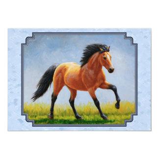 Buckskin Horse Running Light Blue Card