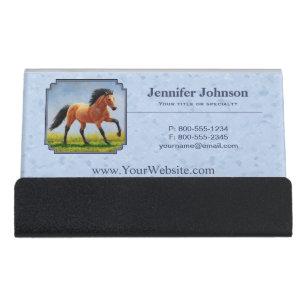 Equestrian business card holders zazzle buckskin horse running light blue desk business card holder colourmoves