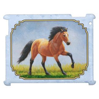 Buckskin Horse Running Light Blue iPad Cover