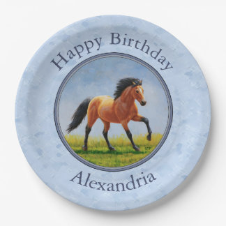 Buckskin Horse Running Light Blue Paper Plate