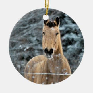 Buckskin Horse Winter Ceramic Ornament