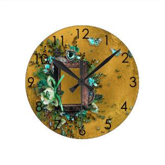 Buckskin Leather Victorian Frame tan butterflies Round Clock