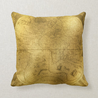Buckskin Leather Vintage world map Throw Pillow