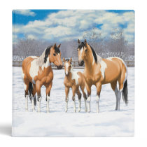 Buckskin Paint Horses In Snow Binder