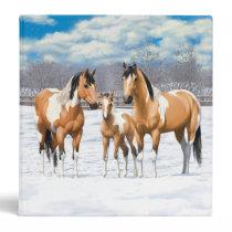 Buckskin Paint Horses In Snow Binder