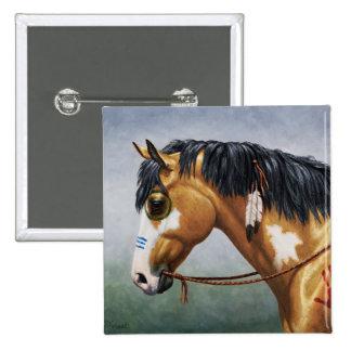 Buckskin Pinto Native American War Horse 2 Inch Square Button