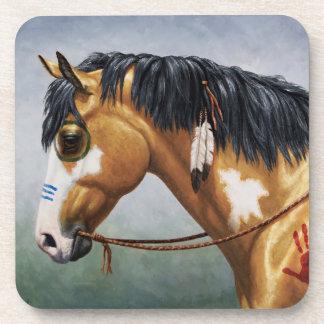Buckskin Pinto Native American War Horse Beverage Coaster