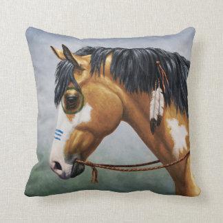 Buckskin Pinto Native American War Horse Throw Pillow