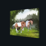 """Buckskin Tobiano Paint Horses Canvas Print<br><div class=""""desc"""">My beautiful, buckskin tobiano, paint horses playing in a meadow. Perfect for equestrians and horse lovers. &quot;The horses paw and prance and neigh, Fillies and colts like kittens play, And dance and toss their rippled manes Shining and soft as silken skeins;... ~Oliver Wendell Holmes&quot; Artwork by Sally Lannier/Painted Dreams Designs...</div>"""