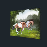 "Buckskin Tobiano Paint Horses Canvas Print<br><div class=""desc"">My beautiful, buckskin tobiano, paint horses playing in a meadow. Perfect for equestrians and horse lovers. &quot;The horses paw and prance and neigh, Fillies and colts like kittens play, And dance and toss their rippled manes Shining and soft as silken skeins;... ~Oliver Wendell Holmes&quot; Artwork by Sally Lannier/Painted Dreams Designs...</div>"