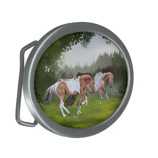 Buckskin Tobiano Paint Horses Oval Belt Buckle